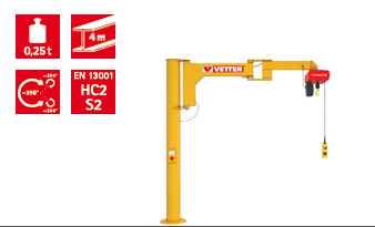 Column-mounted slewing jib crane BOY BS
