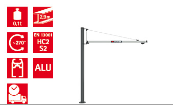 Column-mounted slewing jib crane UNILIFT LIGHT ULS