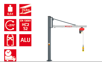 Column-mounted slewing jib crane UNILIFT US