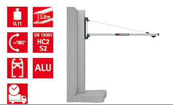 Wall-mounted slewing jib crane UNILIFT LIGHT ULW